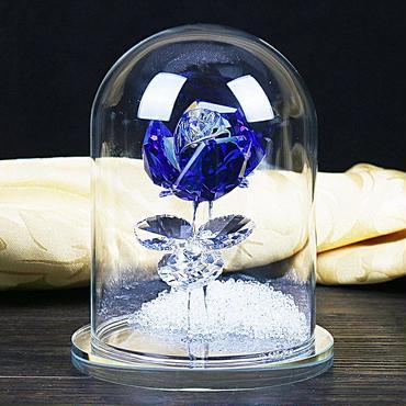 クリスマス  ギフト  クリスタル 青バラ ブルーローズ  ガラスドーム ガラス細工 オーナメント