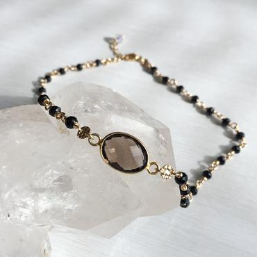 Smoky quartz choker (with a black spinel)