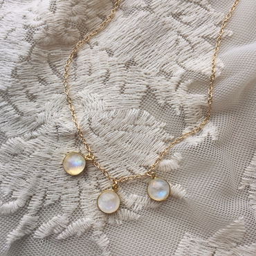 Triple rainbow moonstone necklace