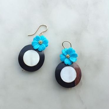Woodshell coin & turquoise