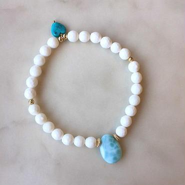 White shell & larimar  bracelet