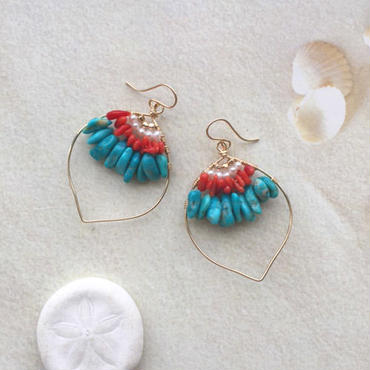 Turquoise & red coral pierced