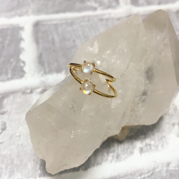 Tiny rainbow moonstone ring