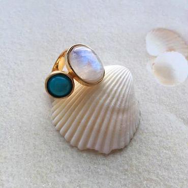 Rainbow moonstone & turquoise ring