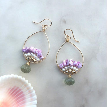 Green amethyst & purple shell