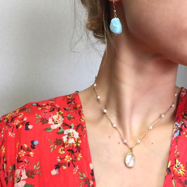 【Y様 ご予約用】Pearl & rainbow moonstone necklace