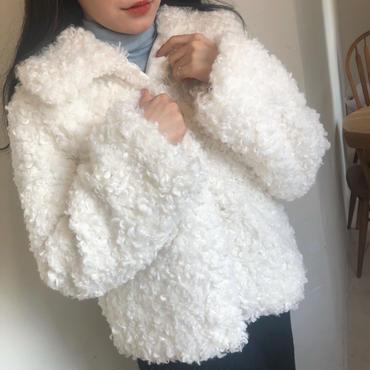 boa coat / white
