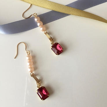 """LYS -fantasia for your dress- """"Marie""""ピアス/イヤリング [rose pink]"""