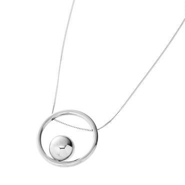 bola circle necklace  (silver)