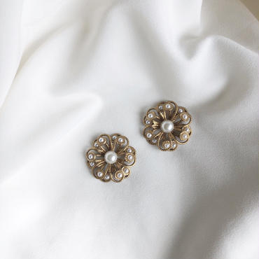 """""""vintage  parts accessory"""" pearl gold flower※3点のみ"""
