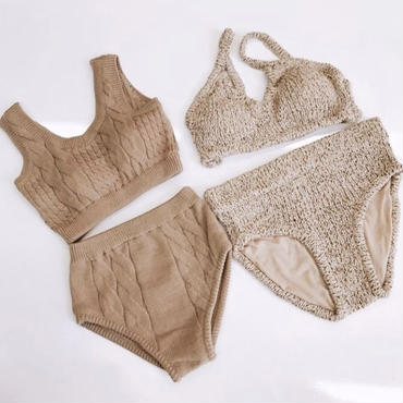 cable knit high-waist swim wear