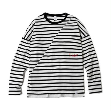 BIAS CUT STRIPE CREW (WHITE BASE)