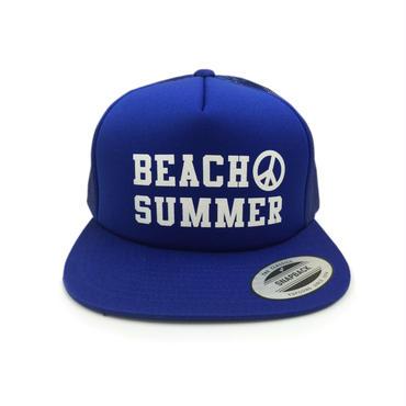 """BEACH SUMMER"" SNAPBACK MESH CAP (BLUE)"