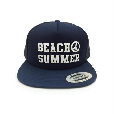 """BEACH SUMMER"" SNAPBACK MESH CAP (NAVY)"