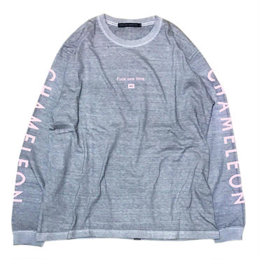 """Fuck one time"" DIRTY DYED L/S T-SHIRTS (BABY PINK)"