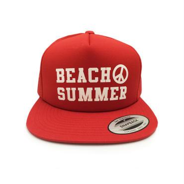 """BEACH SUMMER"" SNAPBACK MESH CAP (RED)"
