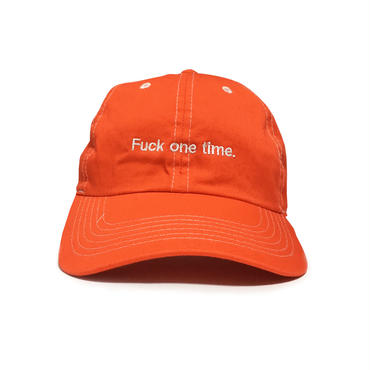 """Fuck one time"" SUMMER RESORT 6PANEL CAP (ATLANTIC SALMON RED)"