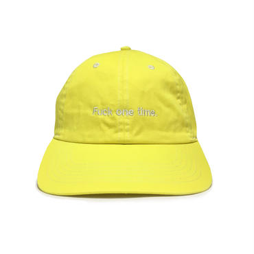 """Fuck one time"" SUMMER RESORT 6PANEL CAP (PINE YELLOW)"