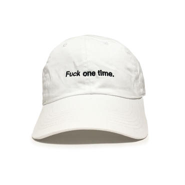 """Fuck one time"" SUMMER RESORT 6PANEL CAP (PURE WHITE)"