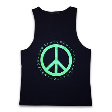 """PEACE & BOX"" TANK TOP (BLACK / NEON GREEN)"