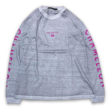"""""""Fuck one time"""" DIRTY DYED L/S T-SHIRTS (RUBY)"""