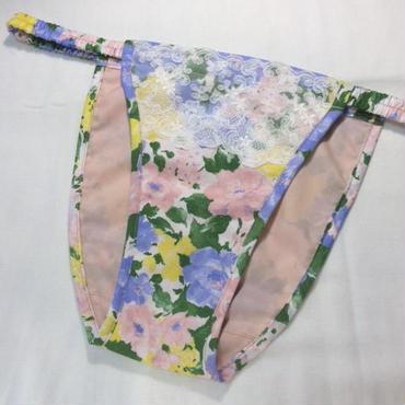 コットンふんどしパンツKSKM303(パステルブルー/ピンク花柄)