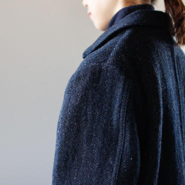 Lomond stand fall collar coat/ navy