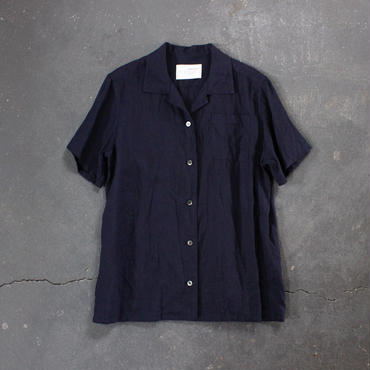 open necked linen shirt/NAVY