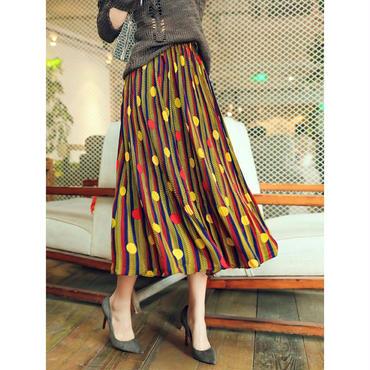 POPなカラースタイリッシュな2色/ドット柄ロングフレアスカート