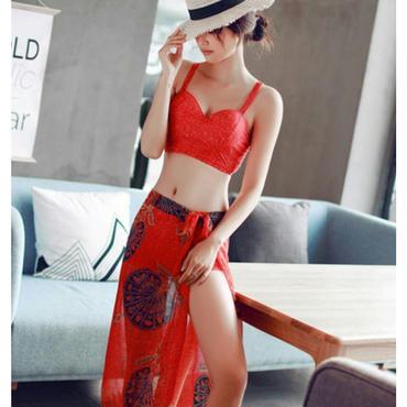 女性らしく体型カバーが魅力のフォルムパレオ付ハイウエストボトムス+ビスチェ水着セット