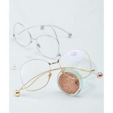 テンプルの形がユニークな大きいレンズのメガネ/ピンク/ゴールド/シルバー等