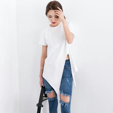 2WAYアシンメトリーtシャツでパンツコーデがおしゃれ 白/黒