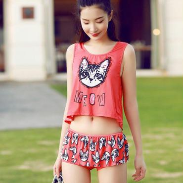 人気の猫&ロゴのコンピがスタイリッシュなタンクトップ付ビキニ/ピンク/赤/青