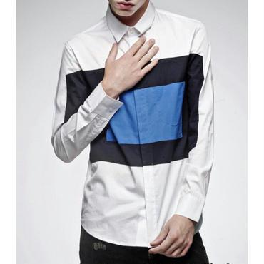 大きい模様/青/白2種類/長袖ベーシックシャツ