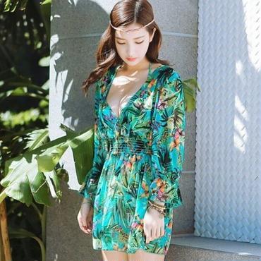 夏おすすめ商品ボタニカルフリンジビキニ 3点セット青/緑