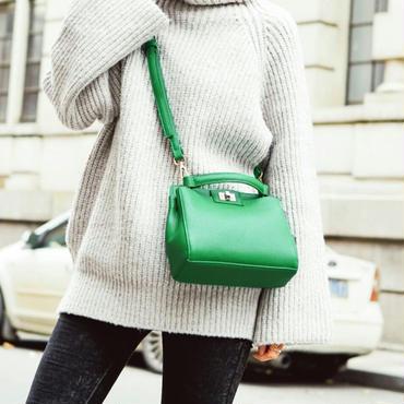 フェイクレザーハンドバッグおしゃれなオレンジ/緑/黒の3色