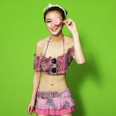 ピンク/コーラル/アニマルレオパード柄のビキニ 4点セット
