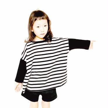 【NNF MB】シルケット天竺ボーダー7部袖ワイドTシャツ 80-115cm