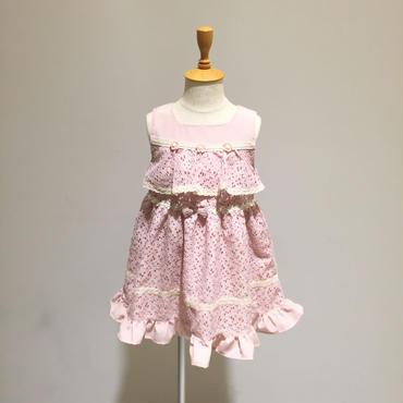 【Souris 】ラッセルレースワンピース(522/ピンク)90-120cm