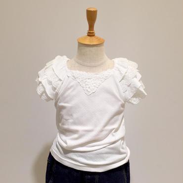 【Souris】 袖フリルTシャツ(153/オフシロ)90-130cm