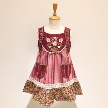 【ラスト1点90cm】Souris ブーケ刺繍ジャンパースカート (ピンク/557)