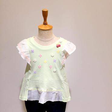 【Souris】 裾プリーツTシャツ(156/グリーン)90-130cm