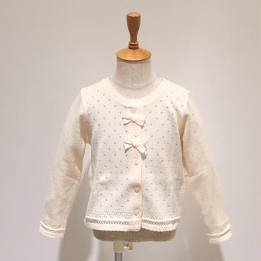 Souris 綿糸リボンカーディガン (704/アイボリー) 80-110cm