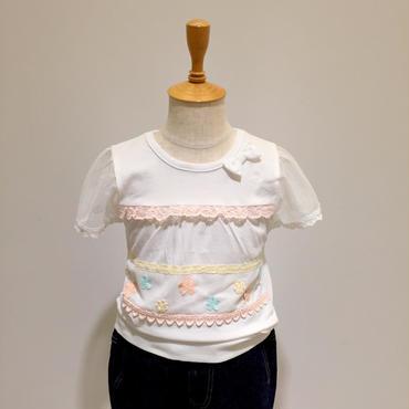 【Souris】 袖メッシュ切替Tシャツ(160/オフシロ)90-120cm
