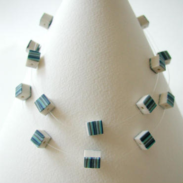Cube - Blue long single / double short necklace
