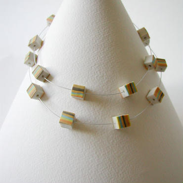 Cube - Yellow long single / double short necklace