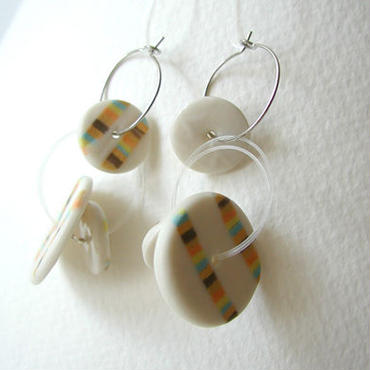 Coin - Yellow -pierced earrings