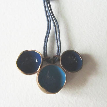 Necklace ciotole blue -bronze, enamel #011-3