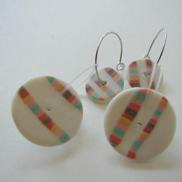 Coin - Red -pierced earrings