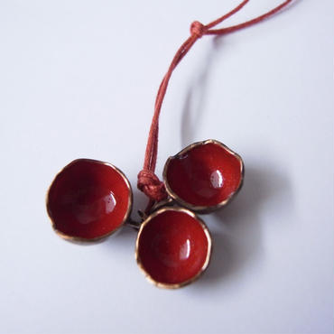 Necklace ciotole red -bronze, enamel #011-1